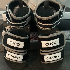 New in Box Chanel Black Jersey Sandals Receipt 7